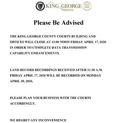 Courts Building Closure - Friday April 17, 2020